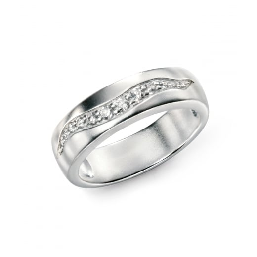Cherubs Jewellery Brush finished silver wave ring with CZ