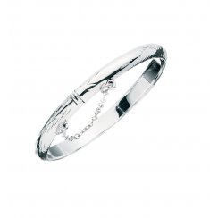 Childrens Silver Patterned Hinged Bangle With Safety Chain
