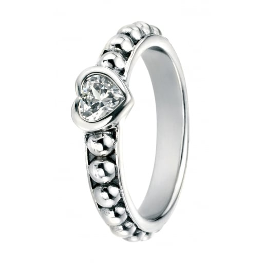 Cherubs Jewellery Cubic Zirconia Ring On Oxidised Ball Shank