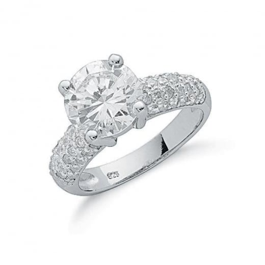 Cherubs Jewellery Cubic Zirconia Set Ring With CZ Pave Set Shoulders