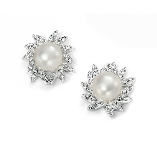 Cherubs Jewellery CZ and Freshwater Pearl Cluster Earring