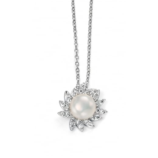 Cherubs Jewellery CZ and Freshwater Pearl Cluster Necklace