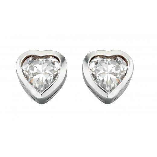 Cherubs Jewellery CZ Heart Stud Earrings