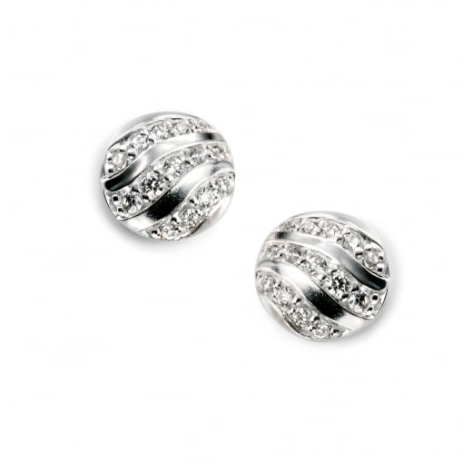 Cherubs Jewellery CZ wave brush finished round small studs