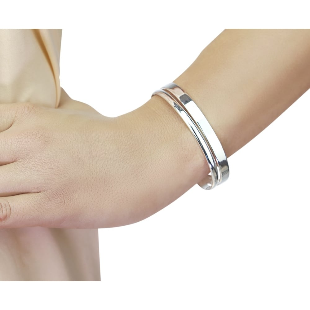 Ladies Solid Sterling Silver Torque Bangle
