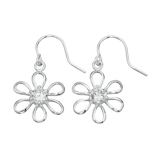 Cherubs Jewellery Daisy Drop Earrings With Cubic Zirconia