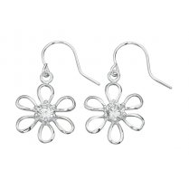 Daisy Drop Earrings With Cubic Zirconia