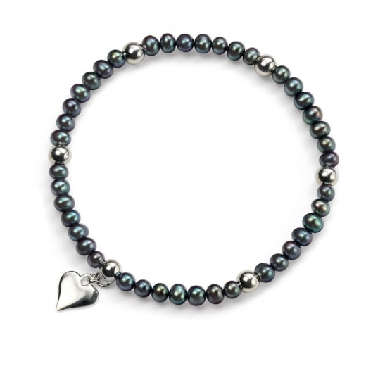 Cherubs Jewellery Dark Blue/Black Freshwater Pearl Bracelet With Silver Heart Charm
