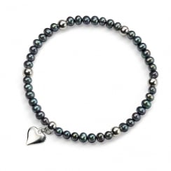 Dark Blue/Black Freshwater Pearl Bracelet With Silver Heart Charm