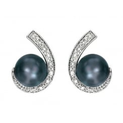 Dark Freshwater Pearls with Pave Diamond Earrings
