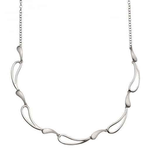 Cherubs Jewellery Designed polished & brushed wave necklace