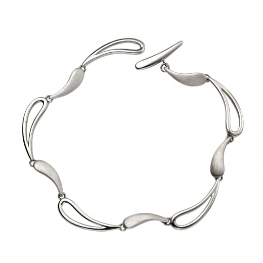 Cherubs Jewellery Designed Polished & brushed wave toggle bracelet