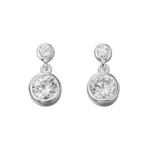 Cherubs Jewellery Double Drop Rubover Cubic Zirconia Earrings
