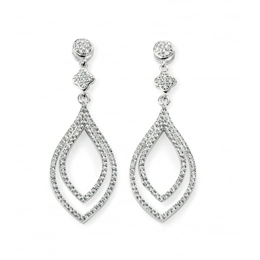 Cherubs Jewellery Elegant CZ double loop drop earrings