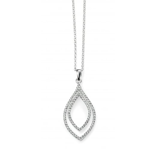 Cherubs Jewellery Elegant CZ double loop drop pendant with chain