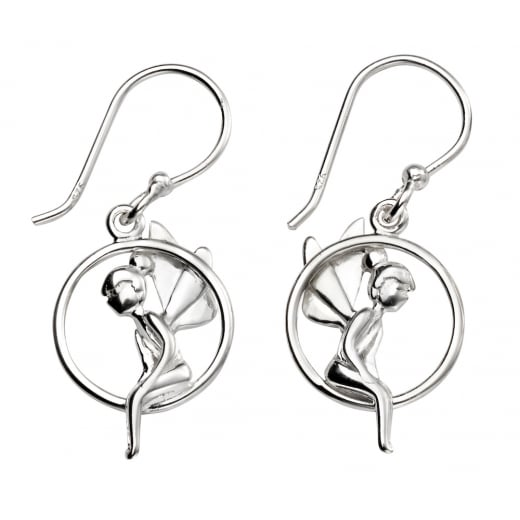 Cherubs Jewellery Fairy sitting in a hoop drop earrings