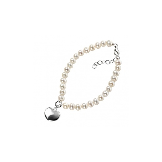 Cherubs Jewellery Freshwater Pearl Bracelet With Silver Heart Charm & Extension Chain