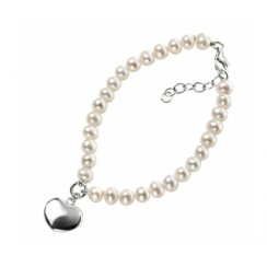 Freshwater Pearl Bracelet With Silver Heart Charm & Extension Chain