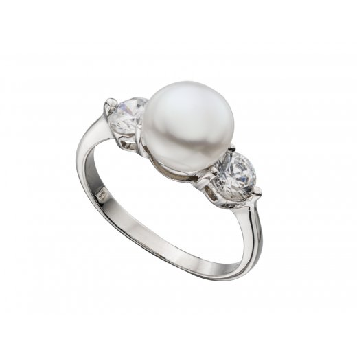 Cherubs Jewellery Freshwater Pearl Ring With CZ Stones Set In Silver