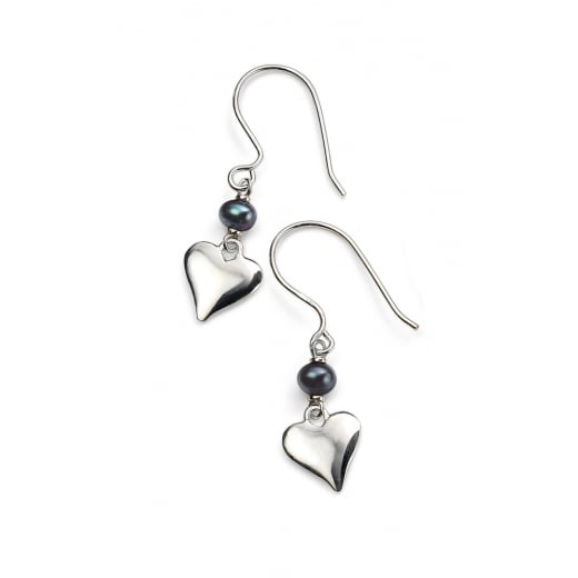 Cherubs Jewellery Freshwater Pearl Silver Heart Earrings