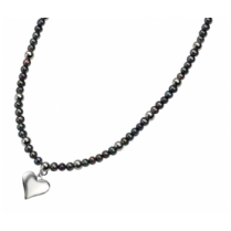 Freshwater Pearl & Silver Heart Necklace
