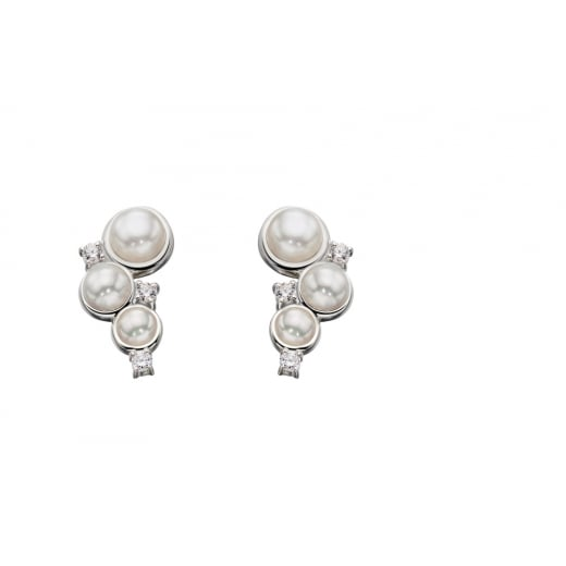 Cherubs Jewellery Freshwater Pearl With CZ Crawler Earrings
