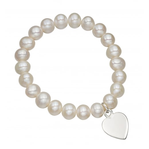 Cherubs Jewellery Girl's freshwater pearl stretch bracelet silver heart tag with free engraving