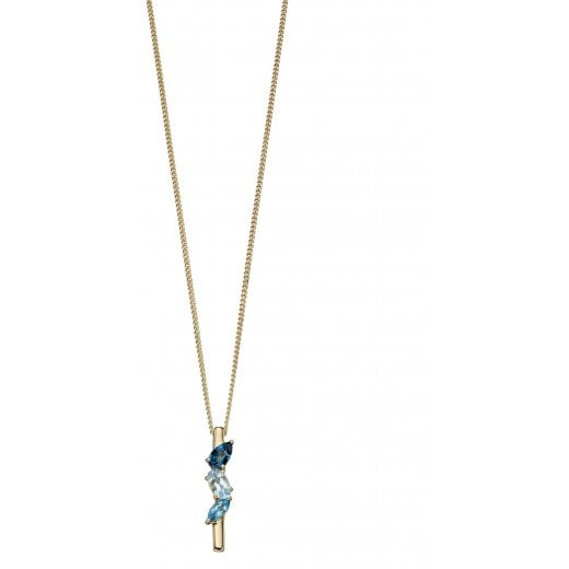 Cherubs Jewellery Gold Blue Topaz Stick Pendant