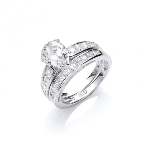Cherubs Jewellery Hallmarked Silver Pear Shaped CZ Set Of Two Rings