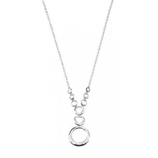 Cherubs Jewellery Hammered Finish Silver Circle Necklace
