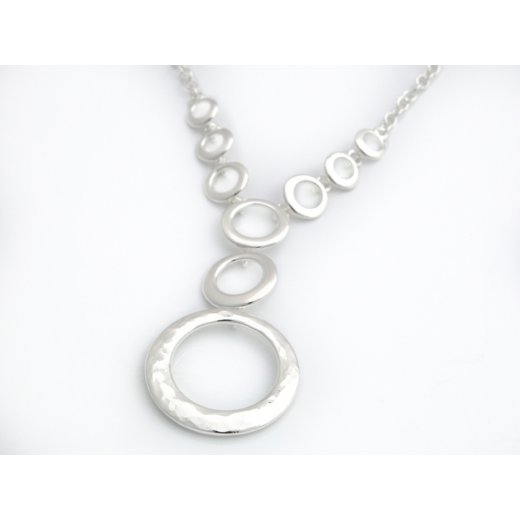 Cherubs Jewellery Hammered Finish Silver Circle Necklace With Adjustable Chain