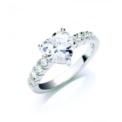 Heart Shaped CZ Ring With CZ Set Shoulders