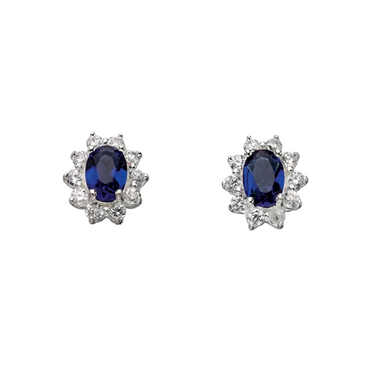 Cherubs Jewellery Kate Earrings Claw Set With Oval Shaped Blue CZ Stones
