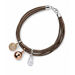 Leather Charm Bracelet With Silver Clasp & Three Colour Charms