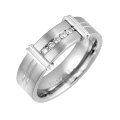 Mens Engagement Rings - Titanium Ring Set With Diamonds .15ct