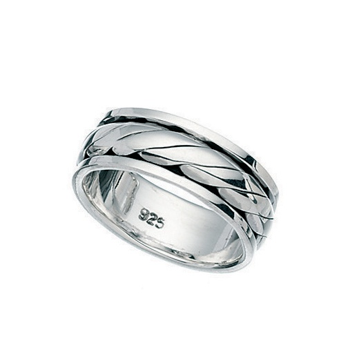 Cherubs Jewellery Mens Polished Silver Rotating Band 8mm