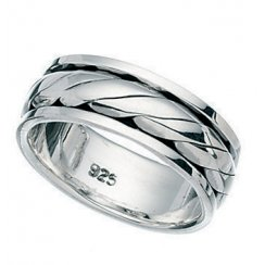 Mens Polished Silver Rotating Band 8mm