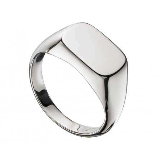 Cherubs Jewellery Mens Silver Plain Polished Signet Ring