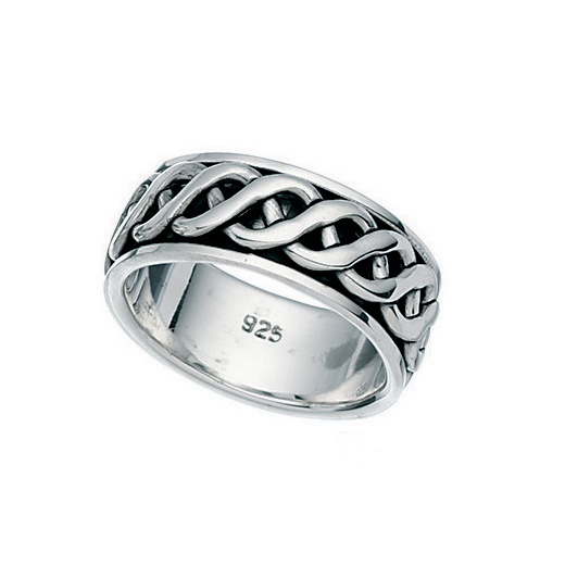 Cherubs Jewellery Mens Silver Ring With Spinning Central Ring Approx 8mm