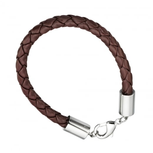 Cherubs Jewellery Mens Steel & Brown Leather Bracelet