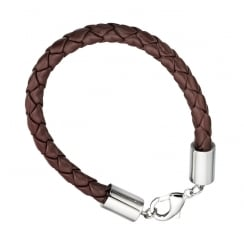 Mens Steel & Brown Leather Bracelet