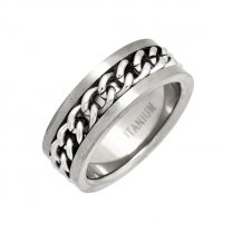 Mens Titanium Chain Link Ring