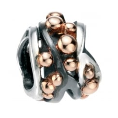 Multi Ball Detail Bead Rose Gold Plated And Oxidised