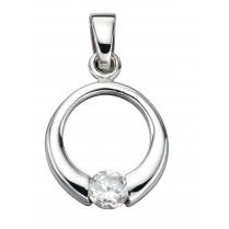 Open Disc Pendant Set With Cubic Zirconia On A Silver Chain