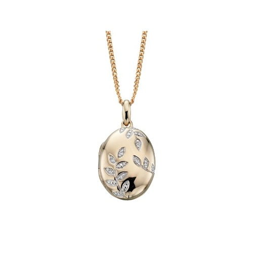 Cherubs Jewellery Oval Locket With Diamond Leaf Design