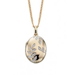 Oval Locket With Diamond Leaf Design