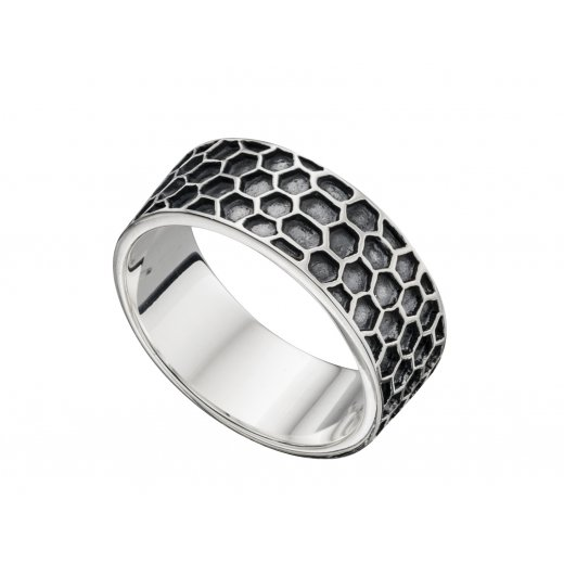 Cherubs Jewellery Oxidised Silver Honeycomb Pattern Mens Ring