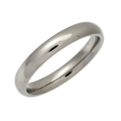 Palladium Heavy Court Shaped Wedding Ring 3mm