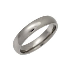 Palladium Heavy Court Shaped Wedding Ring 4mm