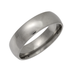 Palladium Heavy Court Shaped Wedding Ring 6mm